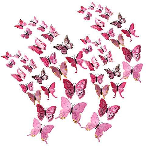 DealMux 48pcs 3D Schmetterling mit doppelten Flügeln Aufkleber mit Pin entfernbaren Aufkleber DIY Art Decor für Home Party Dekoration Pink