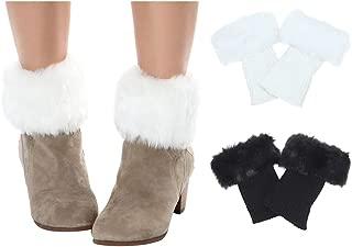 Women Winter Faux Fur Boot Cuff Knitting Leg Warmers Short