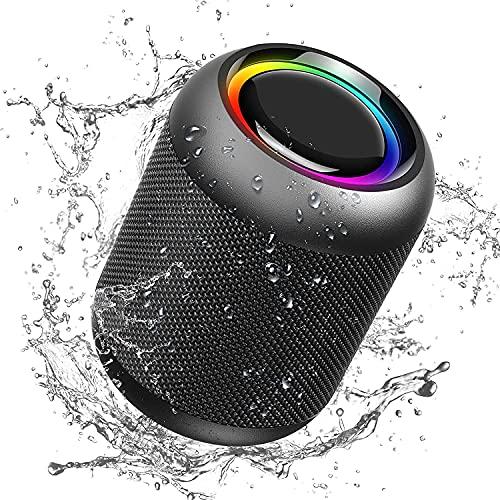IPX7 Altavoz Bluetooth portátil a Prueba de Agua Altavoz inalámbrico Estéreo HD y Sonido Envolvente de 360 °, Reproducción de 24 Horas para Viajes y Exteriores