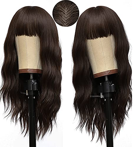 Brown Wigs for Women, Medium Long Curly Wavy Wigs with Bangs, 18 Inch Natural Synthetic Hair Wigs, Heat Resistant Fiber Wig, Daily Cosplay Hair Replacement Wigs, 2 Free Wig Caps (18 Inch Brown)