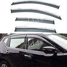 PLDDE 4pcs Smoke Tint With Chrome Trim Outside Mount Tape On/Clip On Style PVC Sun Rain Guard Window Visors Fit 12-16 Honda CRV CR-V