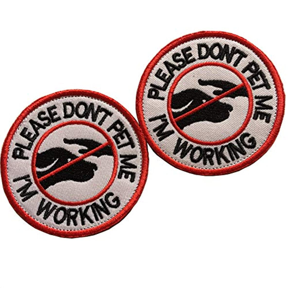 Service Dog in Training Do Not Touch, Please Don't Pet Me Working Dog Patches Emblem Embroidered Fastener Hook & Loop Tactical Patches Appliques for Harnesses Vests (A-Bundle 2 pcs Don't pet)