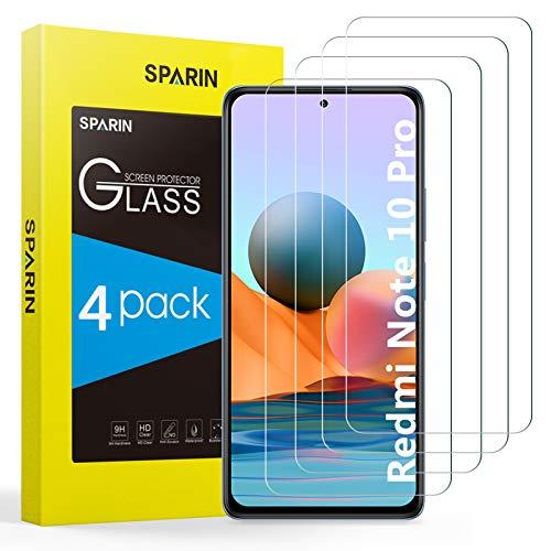 SPARIN Protector de Pantalla Compatible con Xiaomi Redmi Note 10 Pro/Note 10 Pro Max, Cristal Templado de Alta definición, 4 Piezas