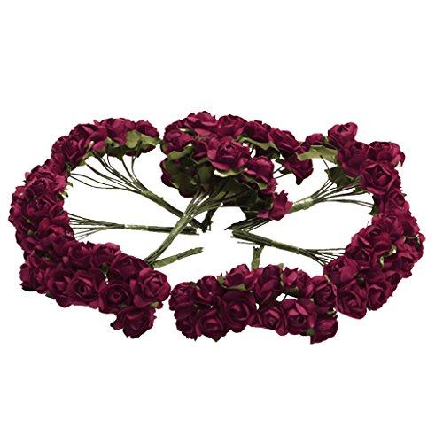 SunniMix 144pcs Mini Carta Rosa Fiori per Mestiere Bomboniera Home Office Decoration - Rosso 1