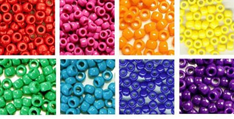 Rainbow Opaque Craft Pony Beads Bulk, 6 x 9mm, 8 Pack Variety Pack, 8 Colors (About 4000 Beads Total) xpzfsegn666055