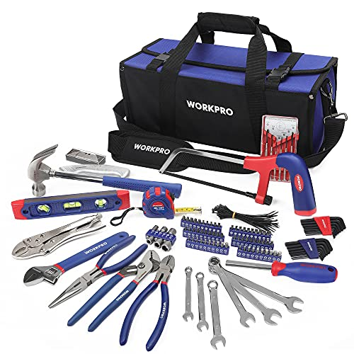 WORKPRO Tools Kit for Home Repair 156PC with Tool Bag, DIY Hand Tool Set - Including Pliers Set, Hex Key Set, Wrench Spanner, Screwdriver Bits, Precision Screwdriver, Hammer, Gift for Men Father