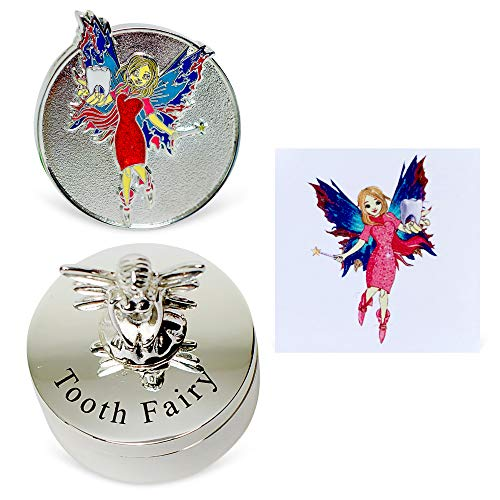 Tooth Fairy Box, Coin and Tattoo - Under Pillow Box, Silver Coins and Tattoo Experience for Lost Tooth - Money Novelty Baby Keepsake Gift for Kids