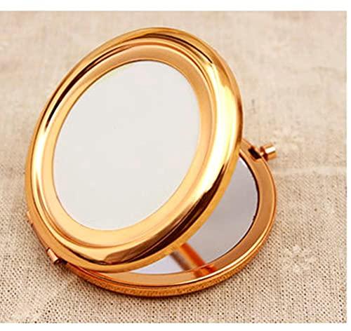 CO Miroir de Poche Compact Miroir de Voyage Mini Miroir de Maquillage Rond Rétro 70mm Large Miroir Lumineux,Or Rose