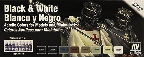 ventas en linea Vallejo Model Color Color Color  Set  negro and blanco Set (8) by Vallejo  precio razonable