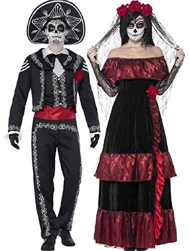 Paar Damen & Herren Tag der Toten volle Länge Skelett Zuckerschädel Halloween Kostüm Verkleidung Outfit - Schwarz, Ladies UK 20-22 & Mens Medium