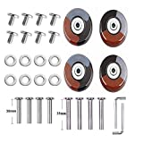 F-ber Set of 4 Wheels 50mm x 18mm/1.97' x 0.7' Luggage Suitcase Wheels with 6mm ABEC 608zz Bearings, Inline Outdoor Skate Replacement Wheels w/Axles 30mm&35mm (Brown&Grey)