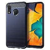 Samsung A20 case,Galaxy A20 Case,Galaxy A30 Case,MAIKEZI Soft TPU Slim Fashion Anti-Fingerprint Non-Slip Protective Phone Case Cover for Samsung Galaxy A20/A30(Navy Brushed TPU)