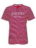 Guess Stripe Motif Logo T- Camiseta para hombre rojo L