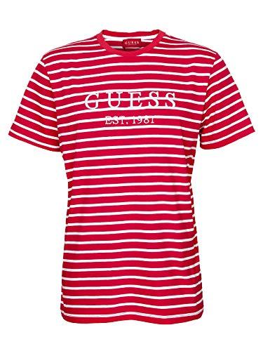 Guess Stripe Motif Logo T- Shirt Herren (M, Rot)