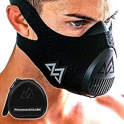 TRAININGMASK Training mask 3.0, black, for performance fitness, workout mask, running mask, breathing mask, resistance mask, cardio mask M black + case