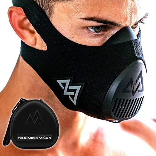 TRAININGMASK Trainingsmaske 3.0, schwarz, für Leistungs-Fitness, Workout-Maske, Laufmaske, Atemmaske, Widerstandsmaske, Cardio-Maske S Schwarz + Etui