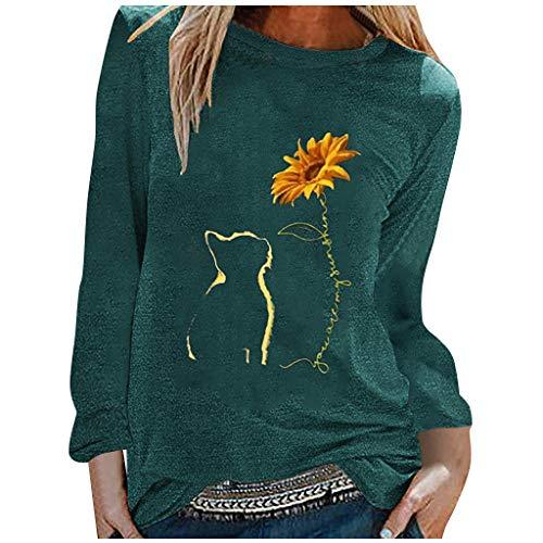 Lazzboy Store T-Shirt Katze Sonnenblume Damen Frauen Herbst Tops Lose Weiche Langarm Bluse Sweatshirt Langarmshirt Pulli Basic Rundhals-Ausschnitt Sport Pullover (Grün,L)