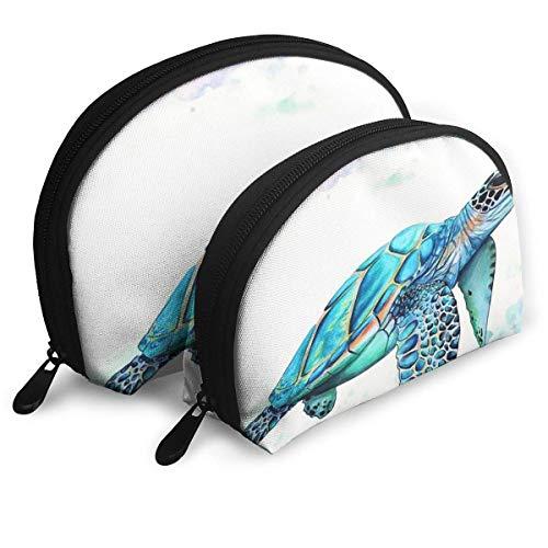 Sea Turtle1 Tragbare Taschen Clutch Pouch Coin Purse Kosmetische Reisetasche One-Big und One-Small 2Pcs Statione