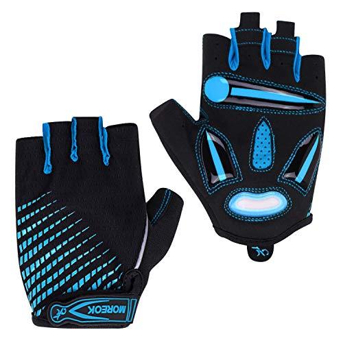 Unisexe Gants de Cyclisme Demi-Doigts Gants de Sport Extérieur Vélo VTT Moto Camping Fitness Équitation Escalade Antidérapant Antichoc Mitaines sans Doigts Eté Respirant Gloves de Protection UV