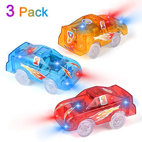 Funkprofi Replacement Track Cars Light Up Toy Cars, 5 LED Flashing Lights Compatible with Most Tracks, Toy Gifts for Boys and Girls (3 Pack)
