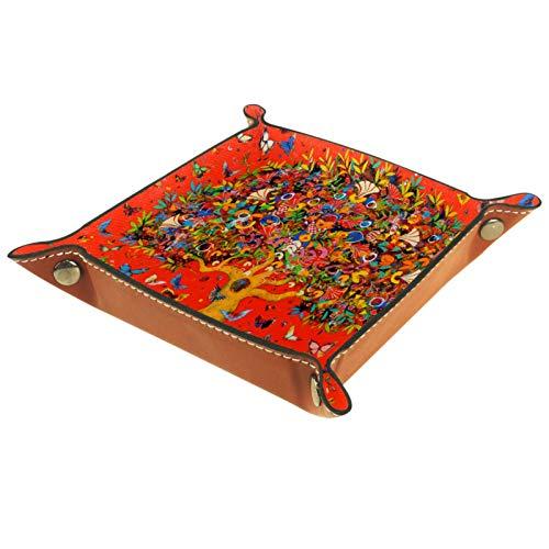 Bandeja de Valet, colector de Cuero PU, Organizador de bandejas, Caja de Almacenamiento para Relojes, Monedas, Monedas, Billetera, árbol Colorido
