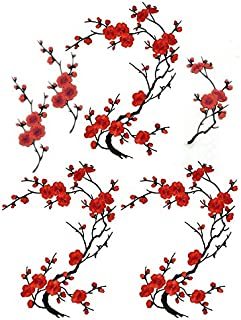 6 Pcs Big Plum Blossom/Small Slice of Plum Blossom Iron On Patches Embroidery Flower Appliques 14.1