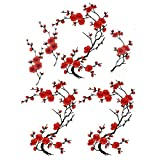 6 Pcs Big Plum Blossom/Small Slice of Plum Blossom Iron On Patches Embroidery Flower Appliques 14.1'x7.5' (36x19cm)/6.7'X3.3'(17X8cm) (Red/Black)