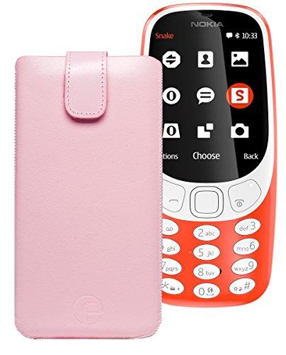 Original Favory Etui Tasche für Nokia 3310 (2017) | Leder Etui Handytasche Ledertasche Schutzhülle Hülle Hülle Lasche mit Rückzugfunktion* in rosa