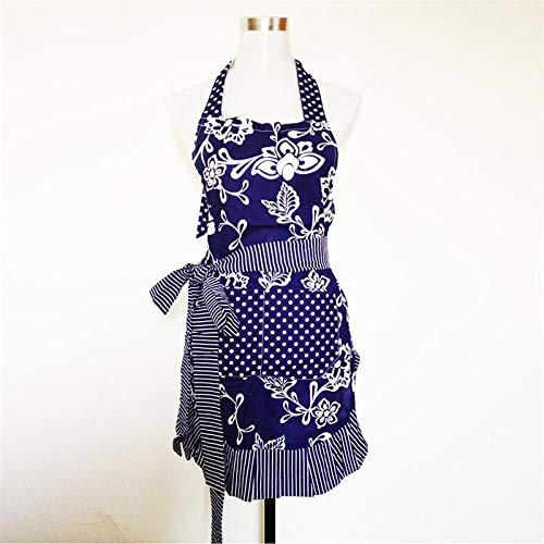 JJFU schort kookschort bloemenpatroon strepen nekholder stijl mouwloze vrouwenkeuken kookschort met tas (donkerblauw)