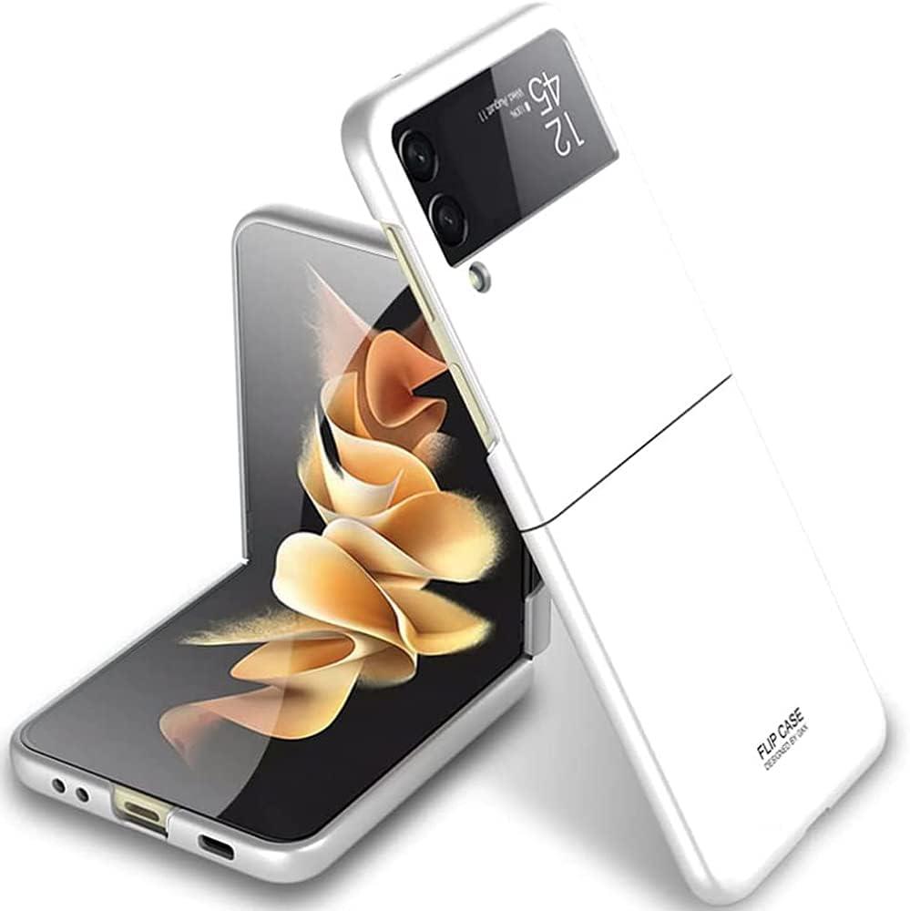 Case for Samsung Galaxy Z Flip 3, Ultra Thin Matte Flip Design Full Body Protection Shock Absorbing Slim Fit Flexible Hard Bumper Cover for Samsung Galaxy Z Flip 3 5G 2021 (White)