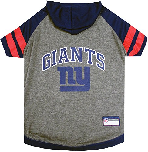 NFL New York Giants Hoodie for Dogs & Cats.   NFL Football Licensed Dog Hoody Tee Shirt, Large   Sports Hoody T-Shirt for Pets   Licensed Sporty Dog Shirt