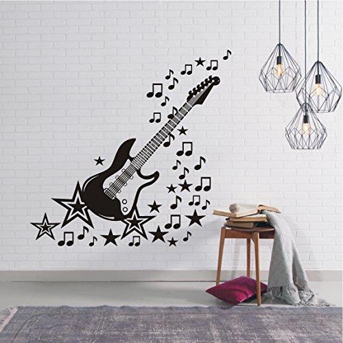 HomeTattoo ® WANDTATTOO Wandaufkleber Musik E Gitarre Music Noten Sterne Wohnzimmer 492 XL ( L x B ) ca. 117 x 120 cm (schwarz 070)