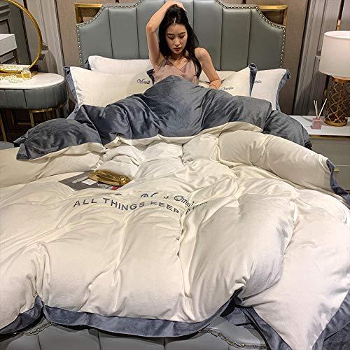 juegos de sábanas 105 x 190-Invierno de cuatro piezas cama de lana de coral gruesa de doble cara de cristal funda nórdica corta cama individual funda de almohada individual regalo-O_Colcha de 1,8 m (