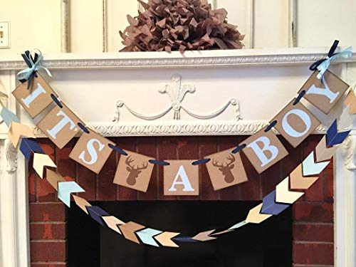 Little Buck baby shower decorations Oh deer baby shower Its a boy banner Woodland baby shower decor Custom colors