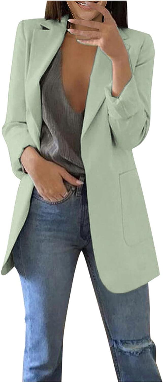 Long Cardigans for Women Solid Color Long Sleeve Pocket Cardigan Blazer Office Coat Cardigans Suit Long Jacket Tops