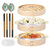 Bamboo Steamer, MacaRio 10 Inch Handmade Steamer Baskets for Cooking with Side Handles & Banding, 4 Sets Chopsticks 2 Ceramic Sauce Dishes 50 Paper Liners, for Dim Sum Dumplings, Buns, Seafoods