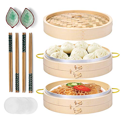 Bamboo Steamer, MacaRio 10 Inch Handmade Baskets with Side Handles & Banding, 4 Sets Chopsticks 2 Ceramic Sauce Dishes 50 Paper Liners, Healthy Cooking for Dim Sum Dumplings, Buns, Seafoods