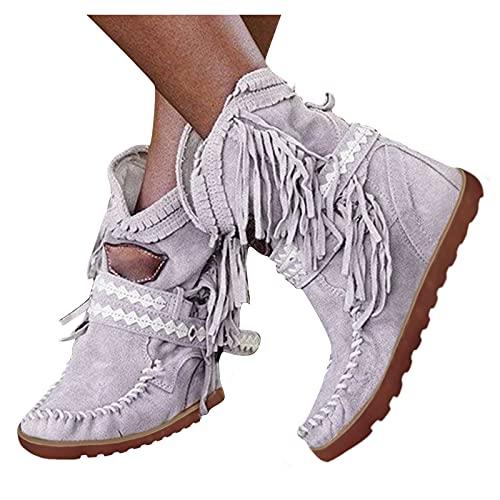 Geilisungren Stiefel Mit Fransen Keilabsatz Knöchelstiefel Vintage Ankle Boots Combat Retro Cowboy Stiefel Western Kurzschaft Stiefeletten Wasserdicht Reiterstiefel Schlupfstiefel Motorradstiefel