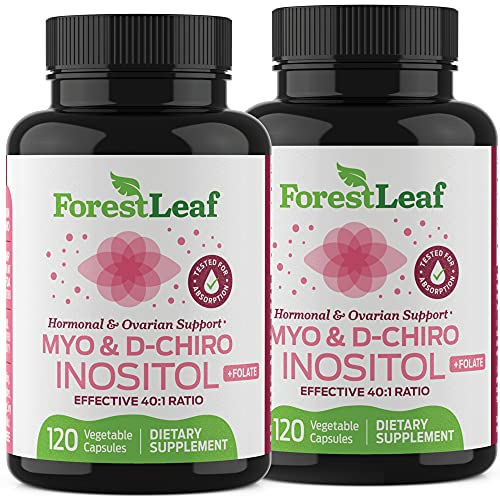 Myo and D-Chiro Inositol Supplement Blend with Folate - Hormone Balance, Ovulation and Ovarian Support for Women - Hair Growth, Weight Management, Fertility and Pregnancy Health (240)