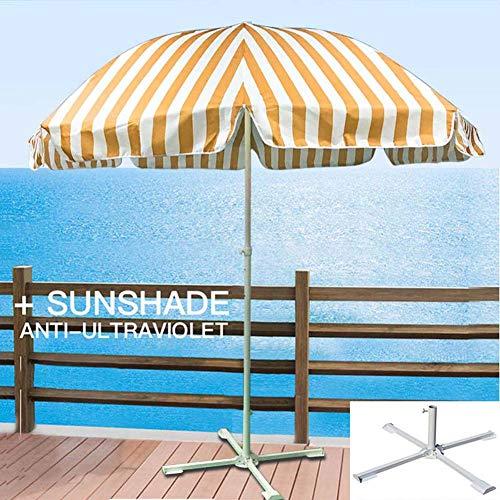 ZJWD Sombrilla De Jardín, Sombrilla De Playa A Rayas De 2.4 M, con Marcos De Soporte De Metal De Tres Capas Y 8, para Protección Solar Al Aire Libre, (Base Cruzada Incluida),B