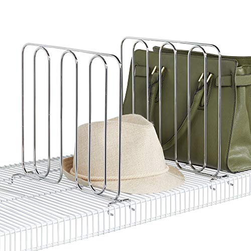 mDesign - Schapverdeler in 2-delige set - kastsysteem voor kledingkast - praktisch/nuttig/zonder boren/metaal - chroom