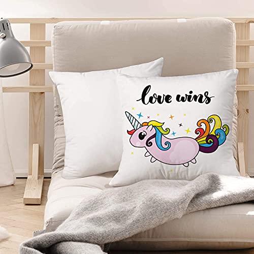 Funda de Cojines Suave Poliéster,Orgullo, lema LGBT con escritura estilizada Cute Unicorn M,Funda de Almohada Cremallera Oculta Duradero Decoración para Sofá Cama Dormitorio Aire Libre Oficina 45x45cm