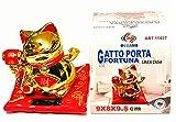 Gatto Portafortuna Cinese con Zampa in Movimento a Luce Solare. Rosso e Dorato H=9x8x9,5 cm