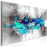 decomonkey Bilder Abstrakt 150x50 cm 1 Teilig Leinwandbilder Bild auf Leinwand Vlies Wandbild Kunstdruck Wanddeko Wand Wohnzimmer Wanddekoration Deko Modern grau blau