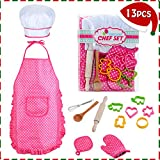 chef apron and hat for girls - HmiL-U Chef Set for Kids - 13 Pcs Kids Cooking and Baking Set Includes Kids Apron, Chef Hat, Utensils, Cooking Mitt for Kids Chef Role Play Set , Gift for 3 Year Old Girls and up …
