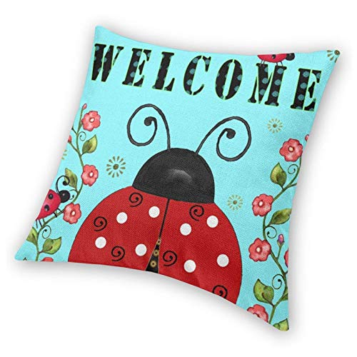 WEIXIA Cotton Linen Rustic Decoration Farmhouse Decor Spring and Summer Flowers and Insects Home Decorative Throw Pillowcase Cover for Sofa Couch