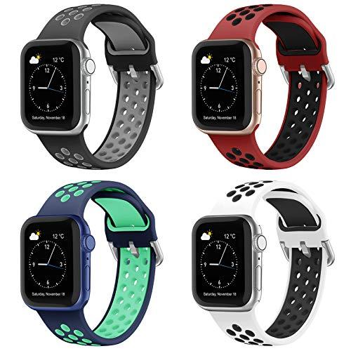 Hatolove Cinturino Compatibile per Apple Watch Cinturino 38mm 40mm 42mm 44mm, Cinturino Silicone di Morbido Traspirante Cinturino Sportivo per iWatch Series 6 5 4 3 2 1 SE, Uomo e Donna Cinturini