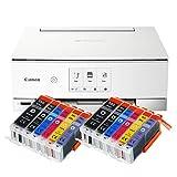 Canon Pixma TS8351 TS-8351 All-in-One Farbtintenstrahl-Multifunktionsgerät (Drucker, Scanner, Kopierer, CD-Druck, USB, WLAN, LAN, Apple AirPrint, SD-Karte) weiß + 12er Set IC-Office 580XXL 581XXL