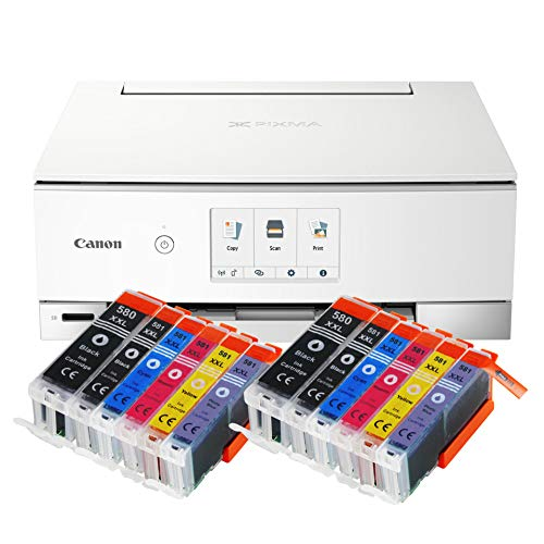 Canon Pixma TS8351 TS-8351 All-in-One Farbtintenstrahl-Multifunktionsgerät (Drucker, Scanner, Kopierer, CD-Druck, USB, WLAN, LAN, Apple AirPrint, SD-Karte) weiß + 12er Set IC-Office 580XXL 581XXL