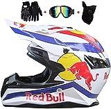 SKINGO Motocross Helmet Set, Full face Helmet, Motorcycle Helmet, ABS housing, ECE Certification, Multiple Ventilation Openings, cool Shape, Release Lining red Bull,XS -M= (53-54 cm)